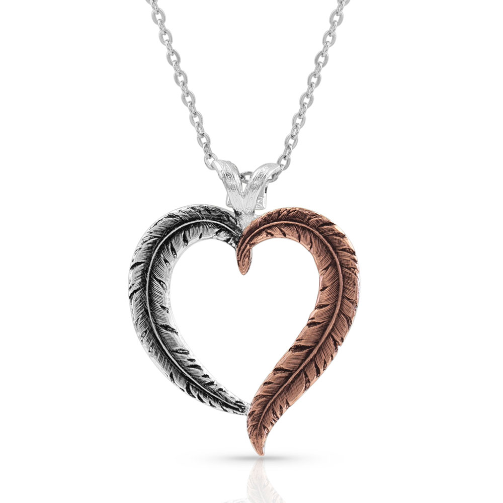 Hearts Aflutter Feather Necklace