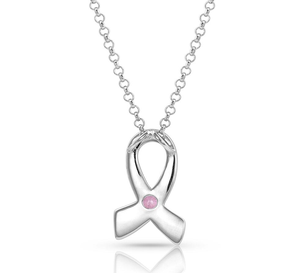 Pink Opal Ribbon Necklace