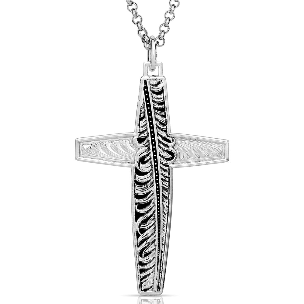 Faith in Hope Feather Cross Necklace