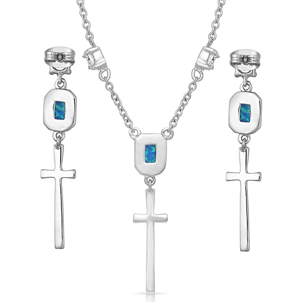 Cross Opal Dangle Necklace
