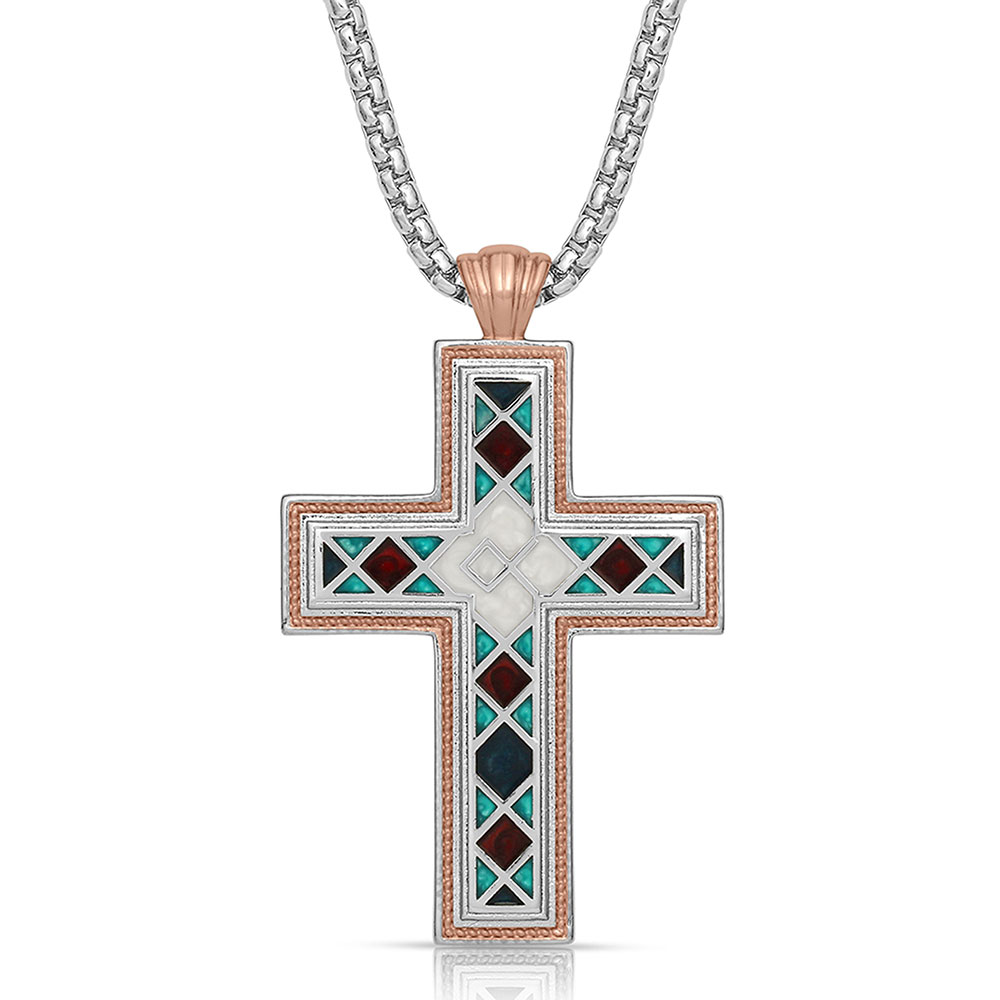 American Legends Mosaic Cross Necklace