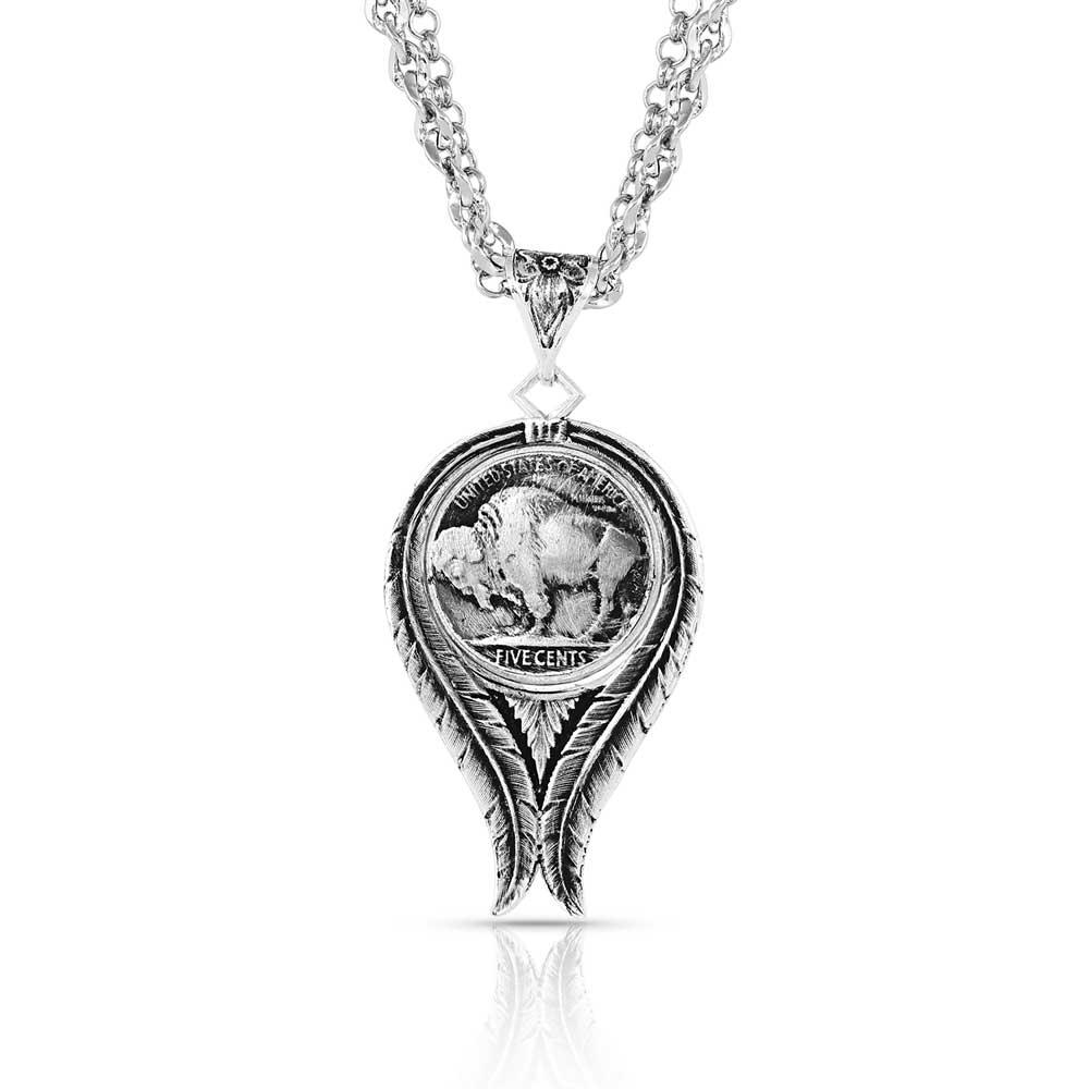 Buffalo Spirit Feather Necklace