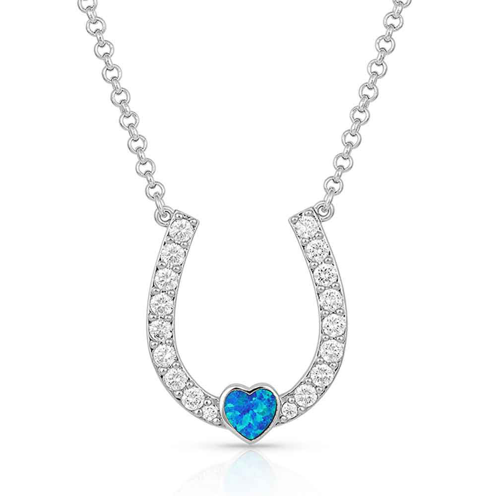Lucky in Love Heart-Horseshoe Necklace