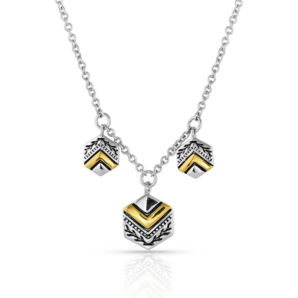 Charmed Chevron Silver Necklace