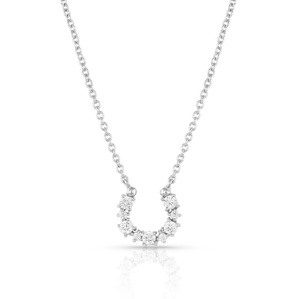 Longline Crystal Horseshoe Necklace