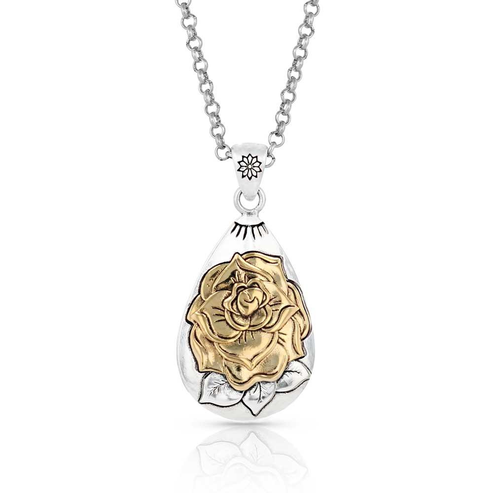 Emerging Rose Teardrop Silver Necklace