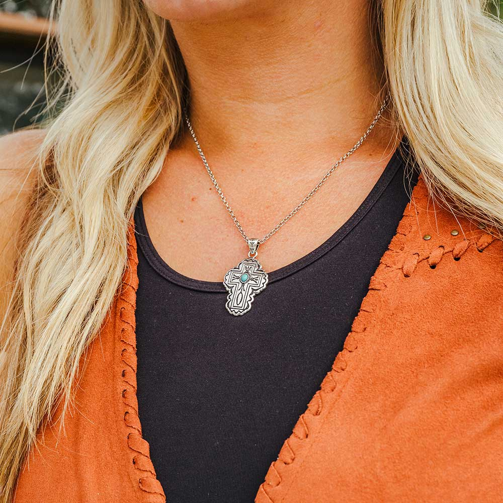 Cathedral Turquoise Silver Cross Necklace
