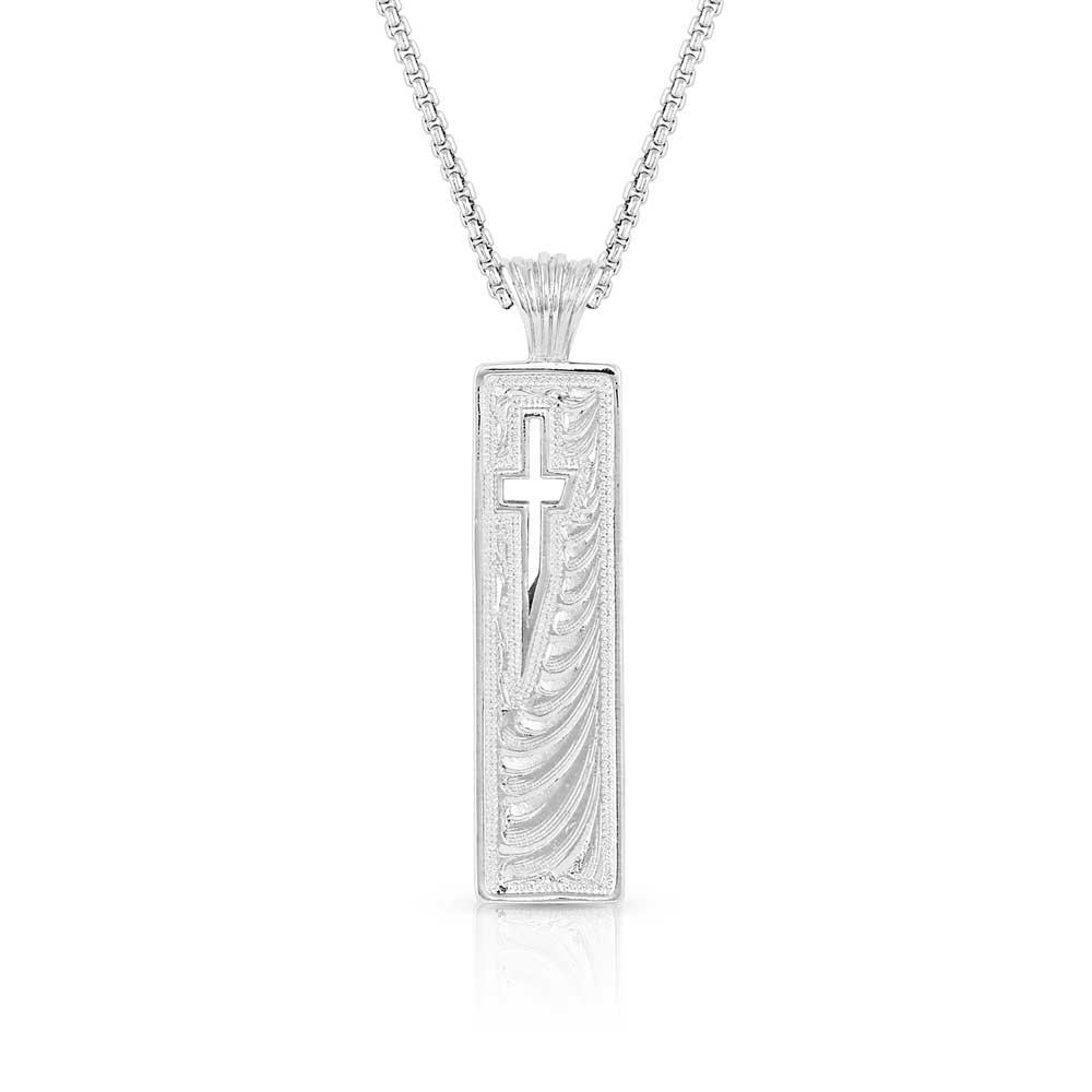 American Legends Slim Column Cross Necklace