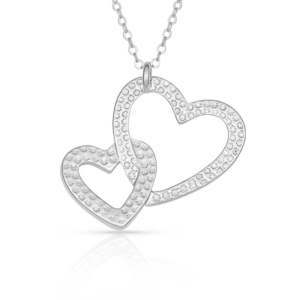 Double Heart with Crystal Necklace