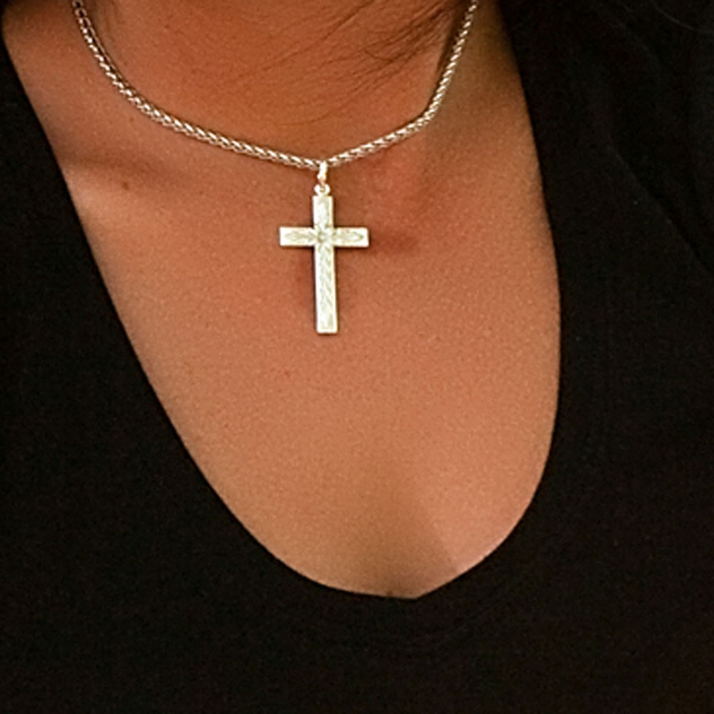 Silver Engraved Cross Necklace
