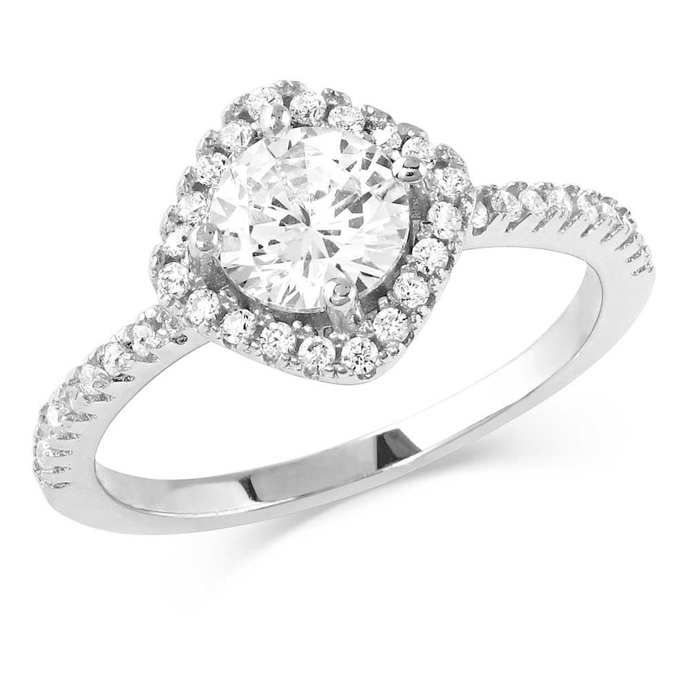 Squarely Perfect Haloed Ring