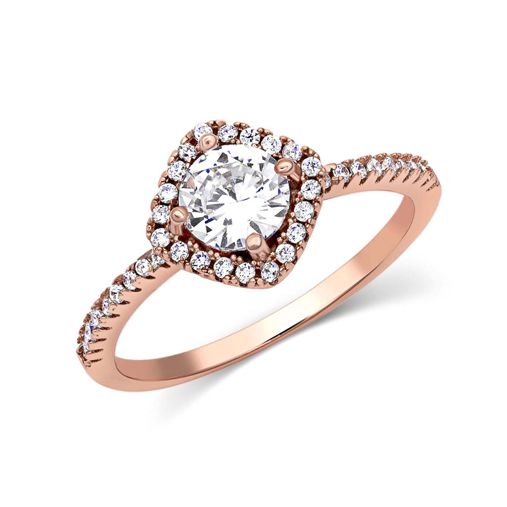 Squarely Perfect Rose Gold Haloed Ring