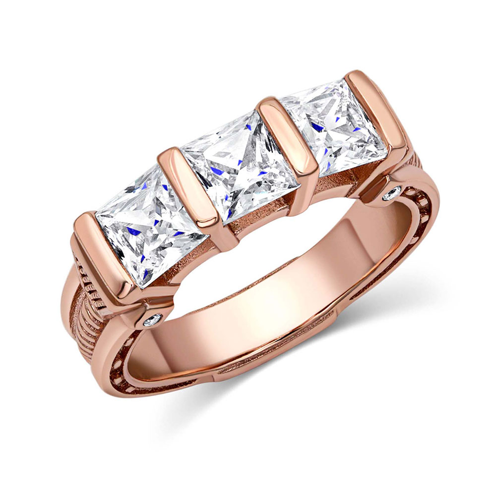 Three Times a Stone Rose Gold Horseshoe Nail Ring
