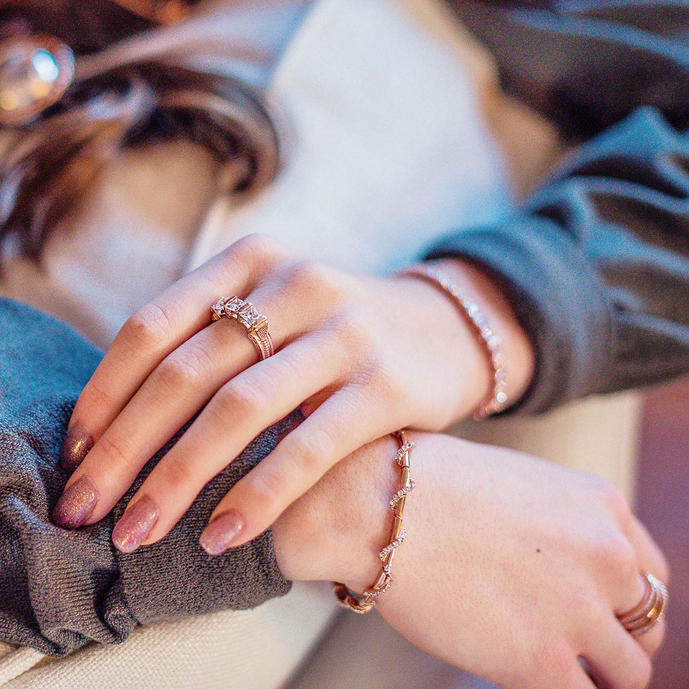 Three Times a Stone Rose Gold Horseshoe Nail Ring