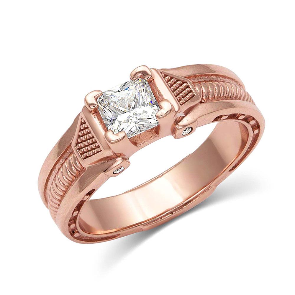 Single Stone Rose Gold Horseshoe Nail Ring