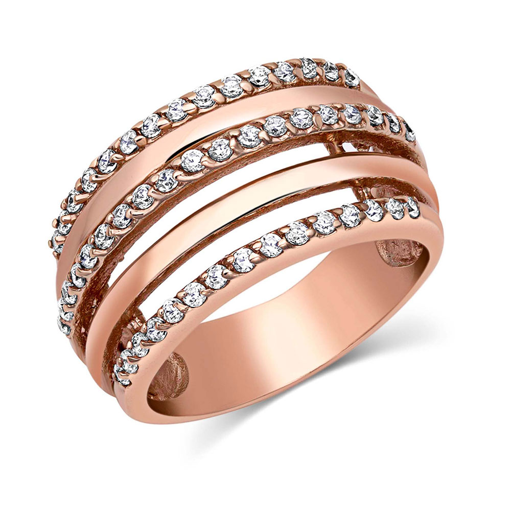 Layered Brilliance Rose Gold Ring