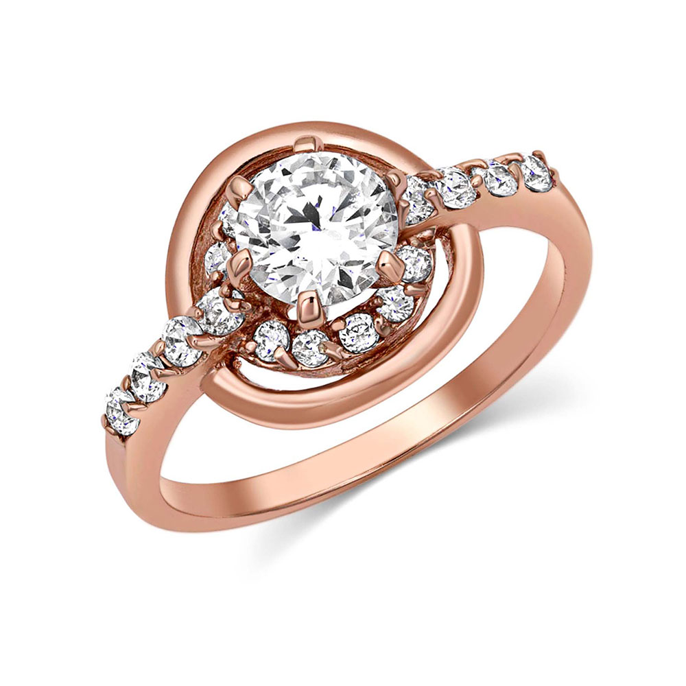 Double Halo Rose Gold Ring