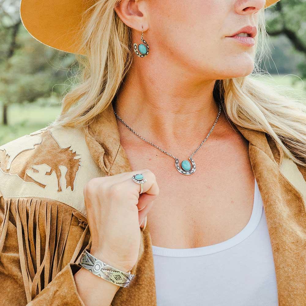 Within Luck Turquoise Horseshoe Ring