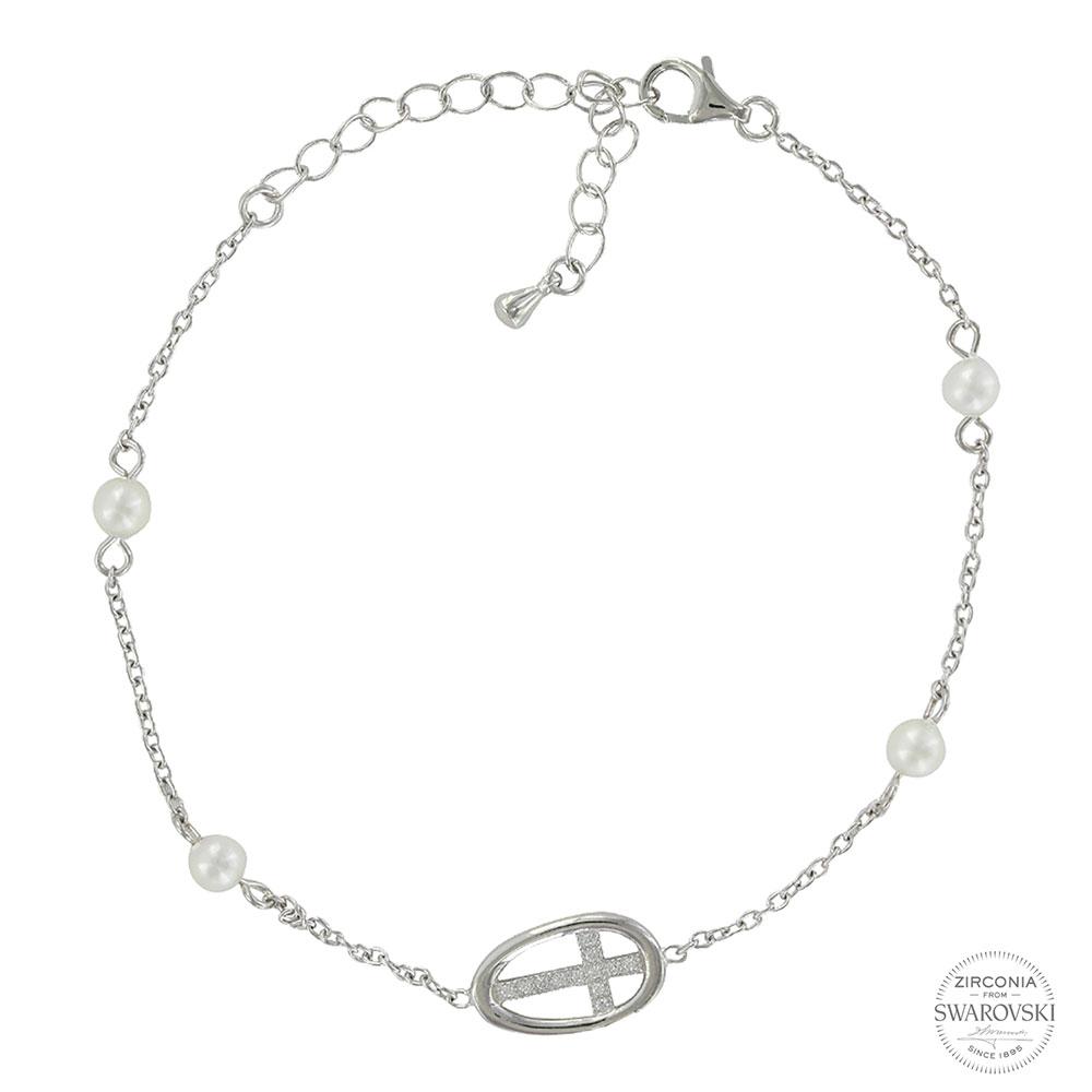Sterling Lane By Virtue of Faith Cross Bracelet