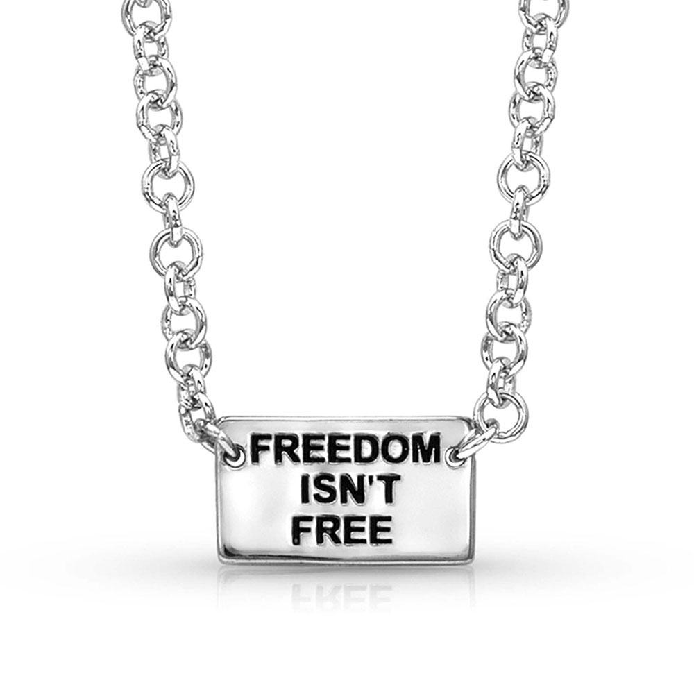 Pursue the Wild Freedom Isn't Free Flag Necklace