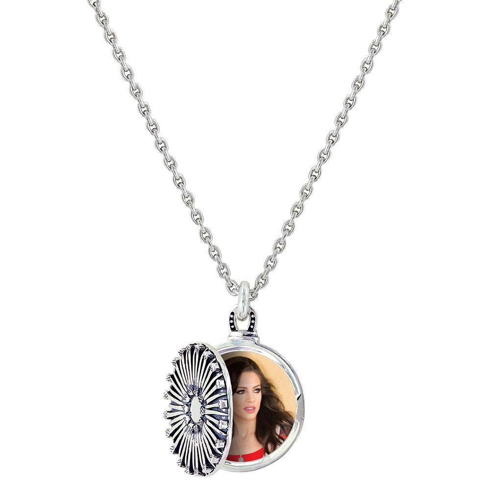 Sunflower Horseshoe Nail Locket Necklace