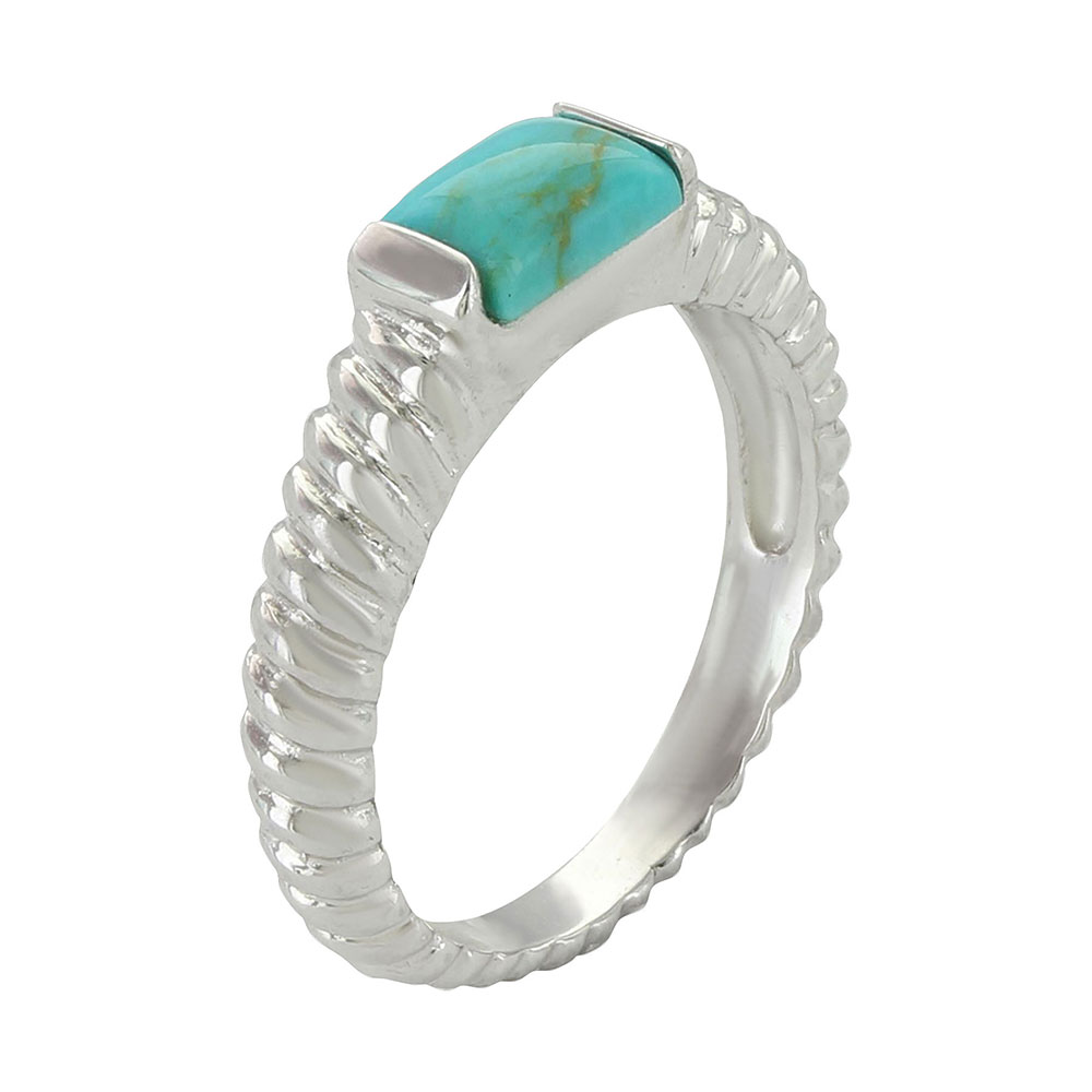 Sterling Lane Turquoise Rope Ring