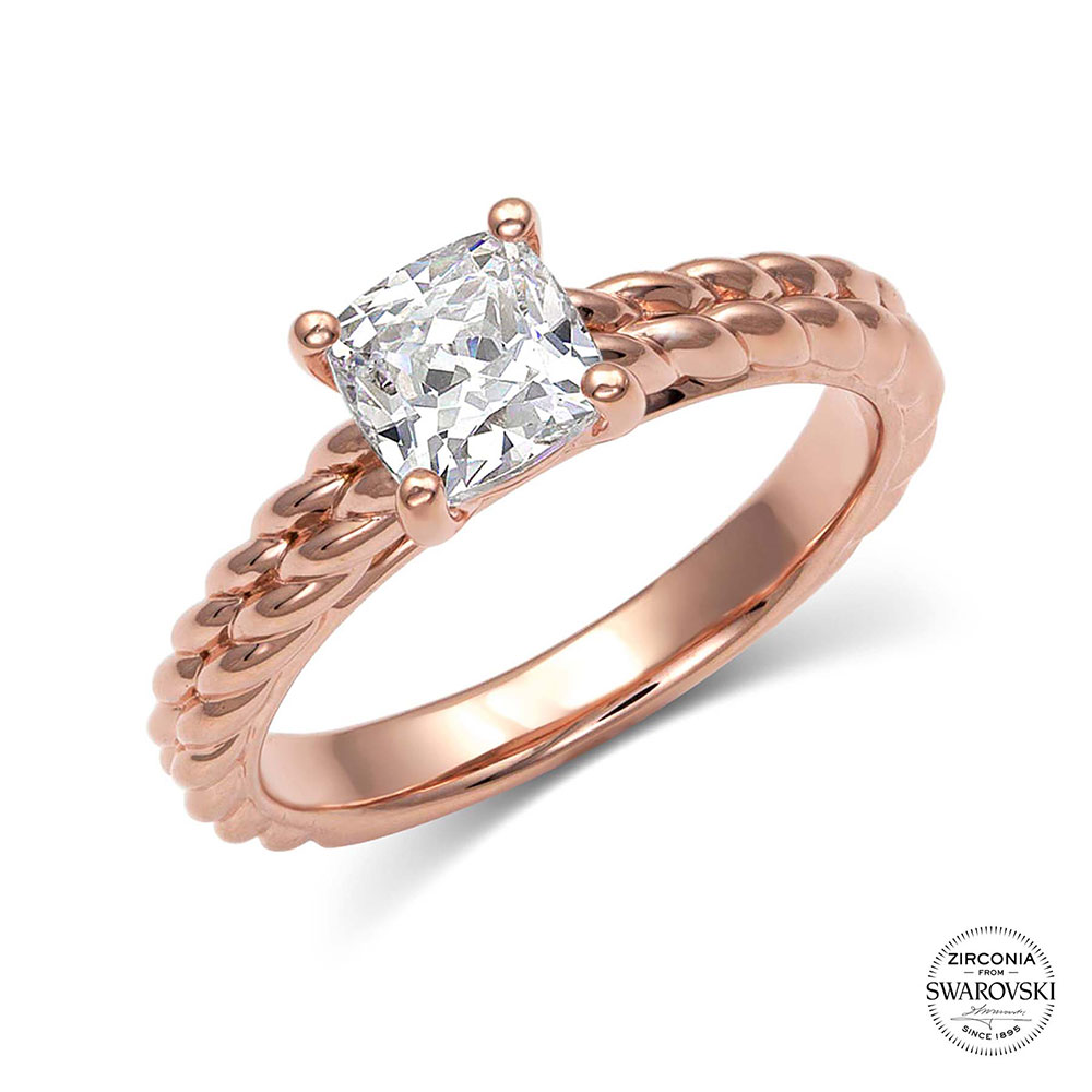 Sterling Lane Two Rose Trails Solitaire Ring
