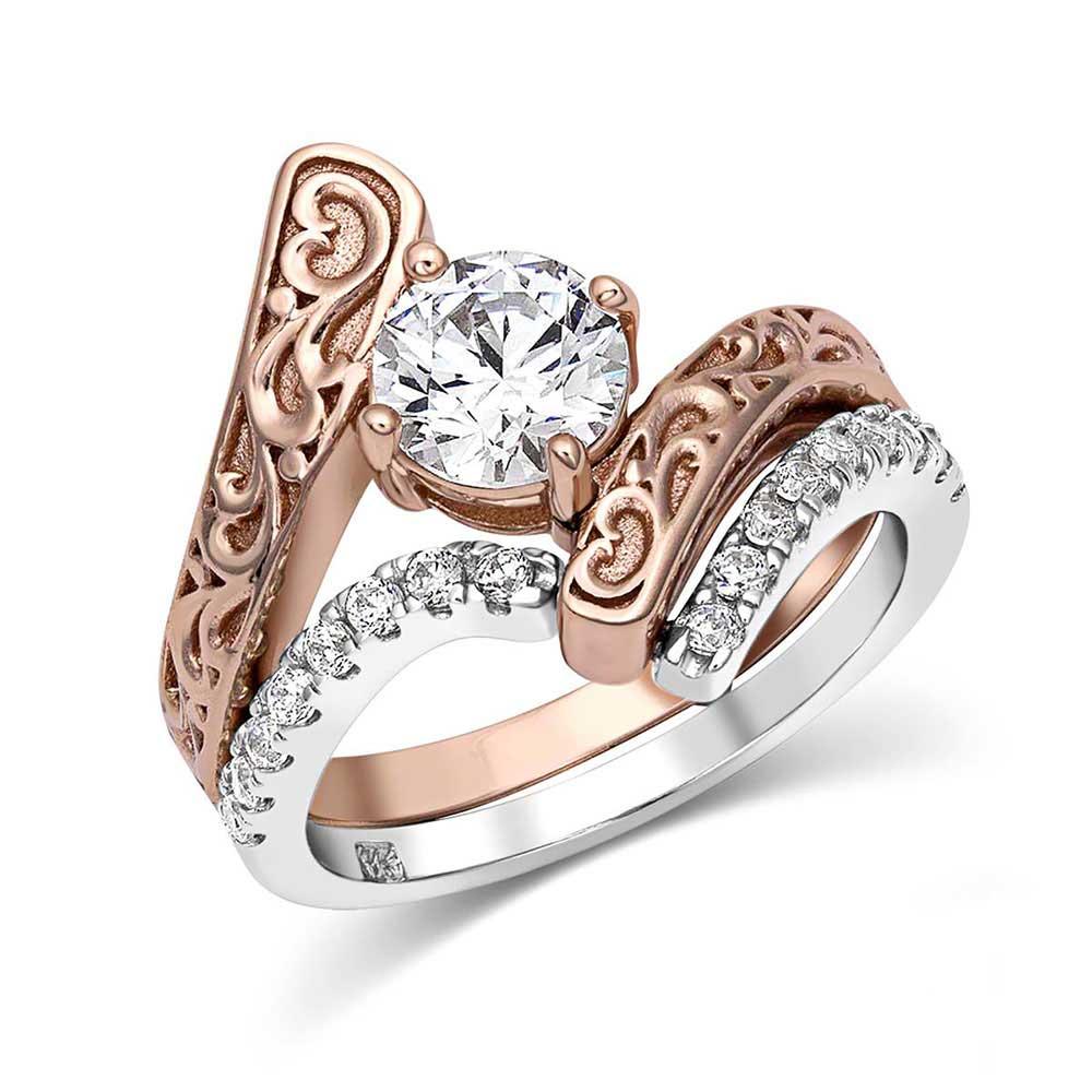 Sterling Lane Destiny Rose Engagement Ring & Wedding Band Set