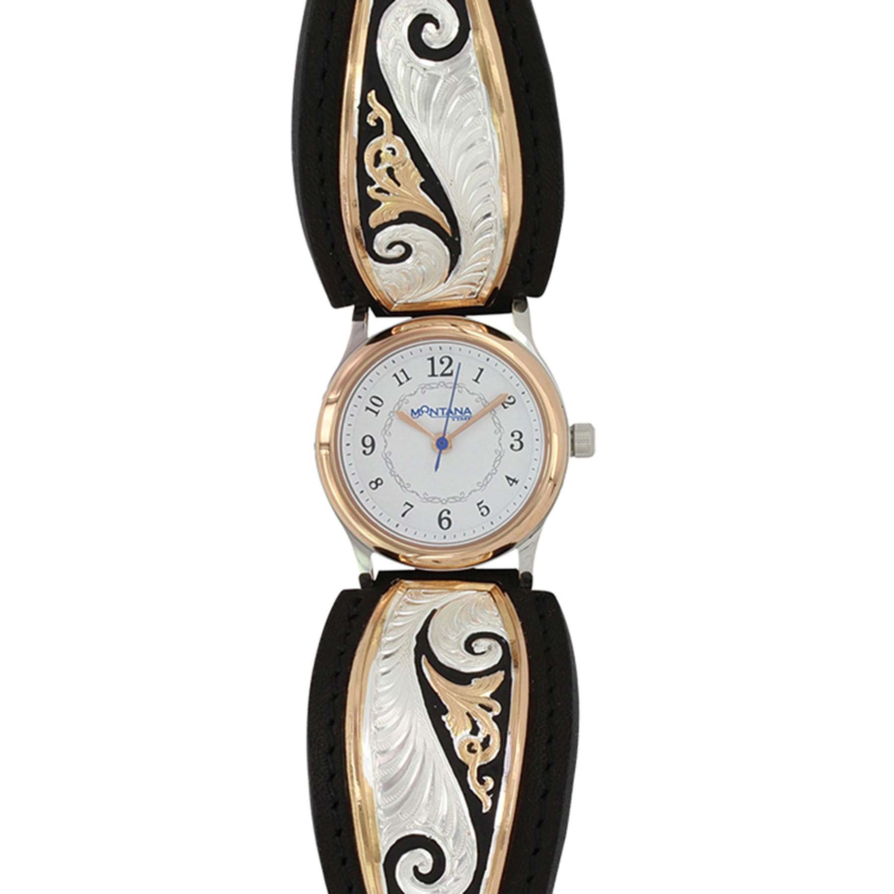 Classic Rose Gold Scroll Leather Watch