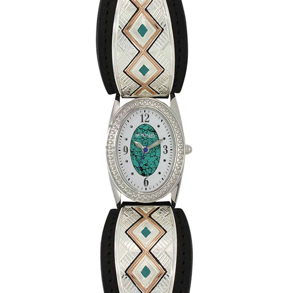 Two Tone Southwestern Double Trails Leather Watch