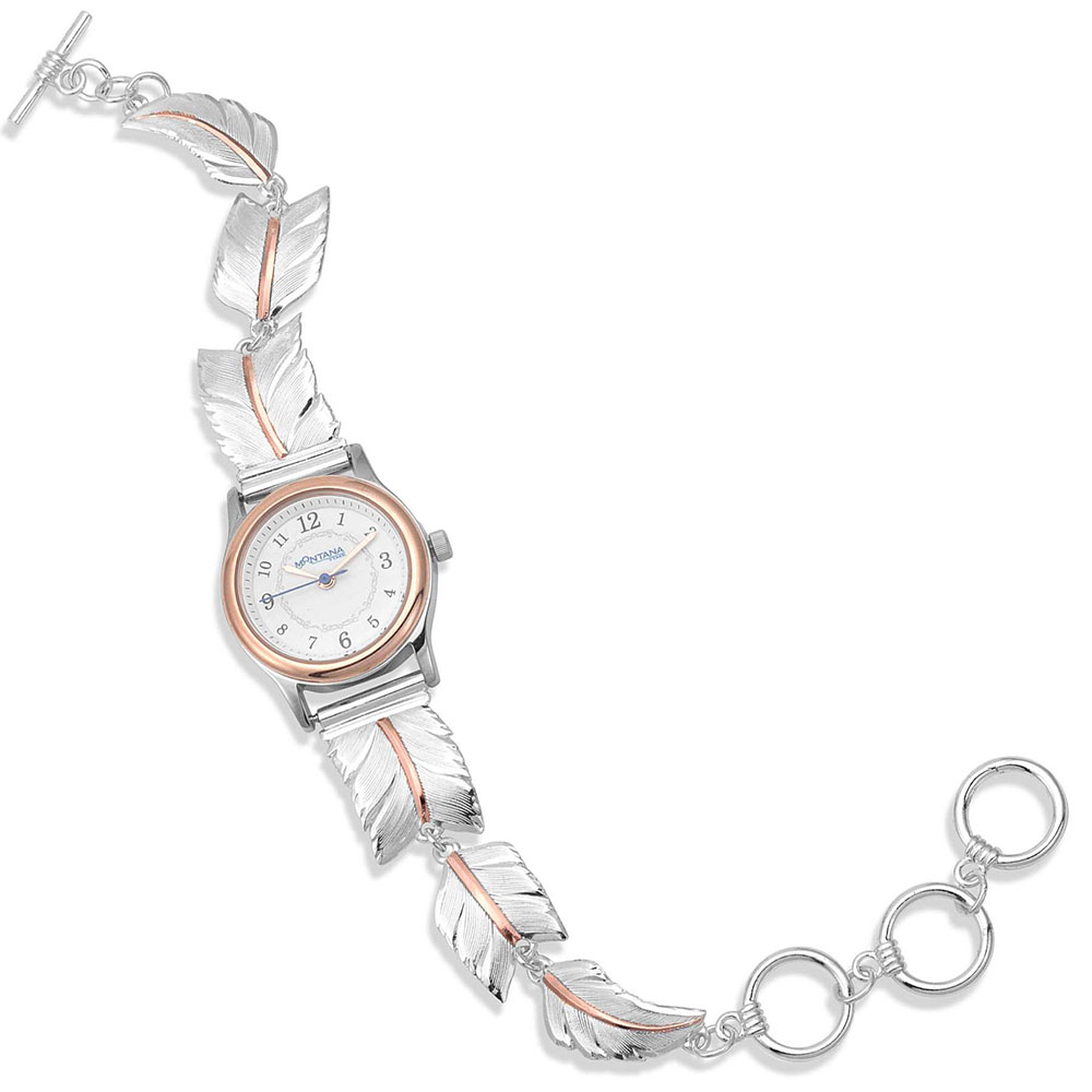 A Graceful Movement Rose Gold Feather Link Band Round Watch