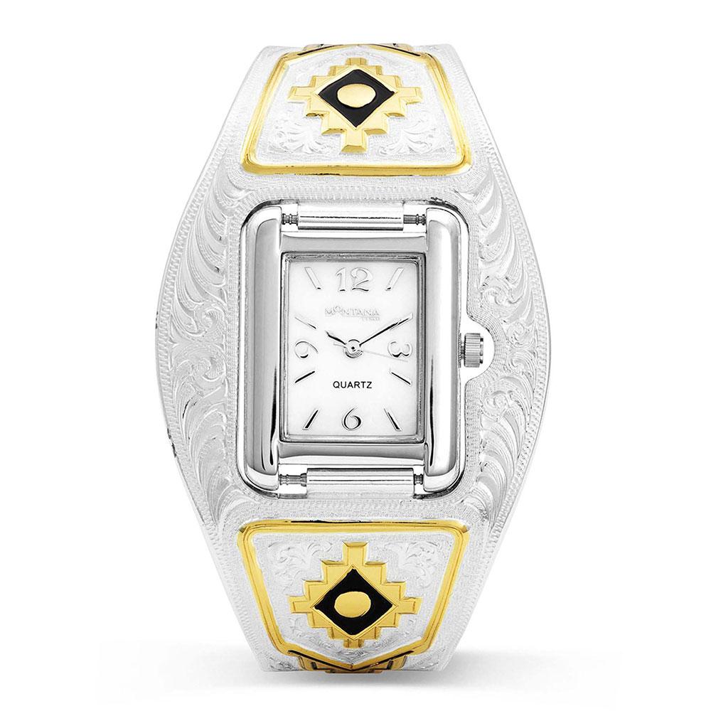 Ladies Aztec Gold Cuff Watch