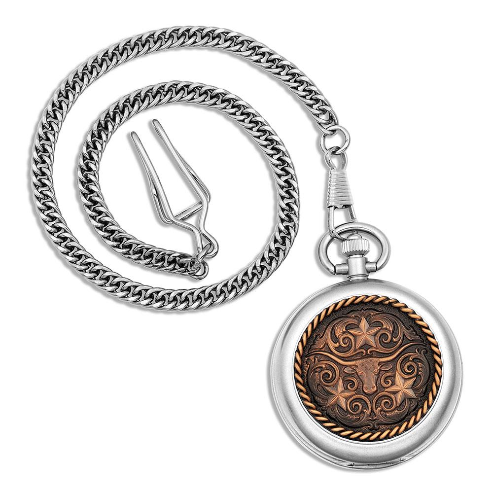 Vintage Bronze Longhorn Pocket Watch
