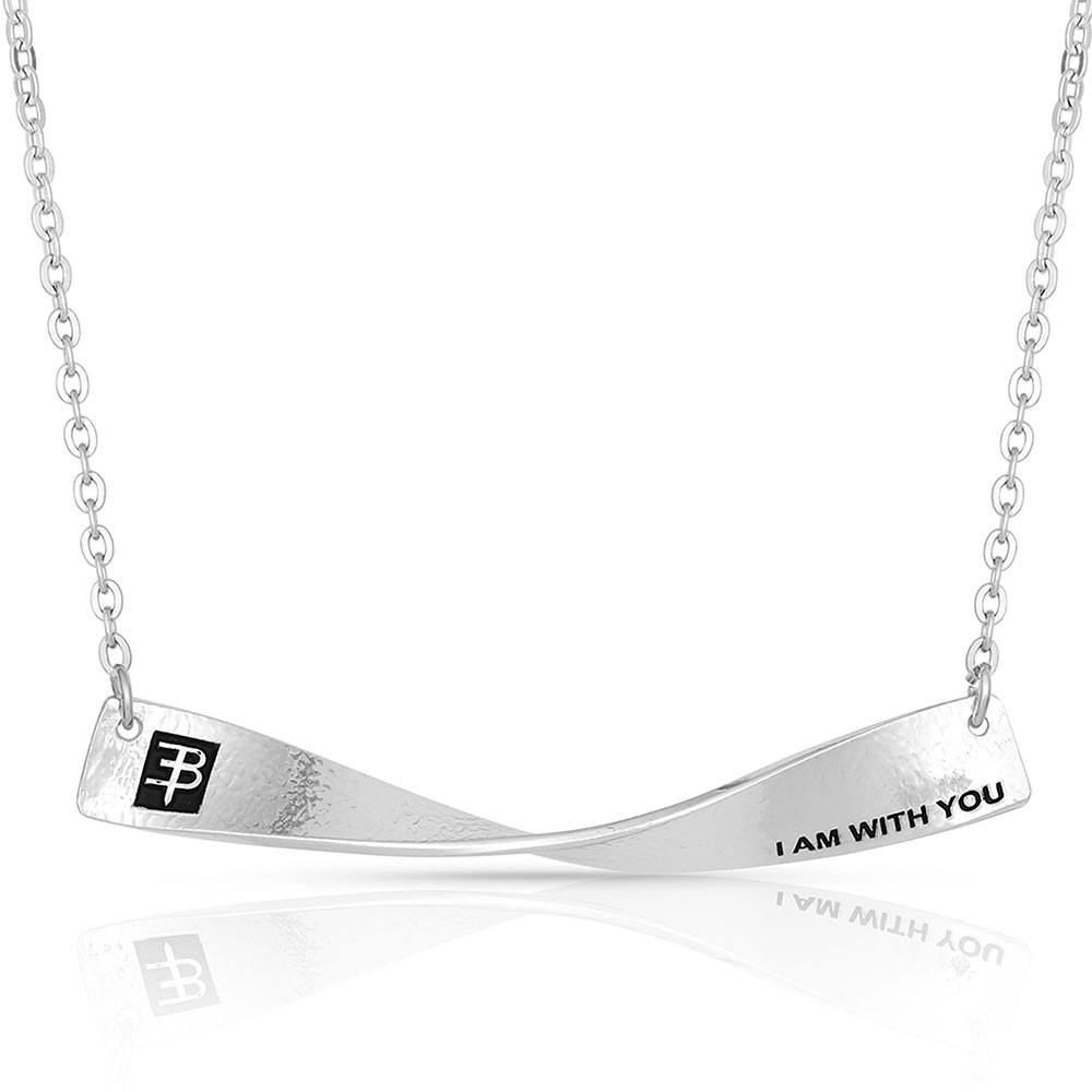 I Am With You Symbolized Twisted Slim Dog Tag Necklace